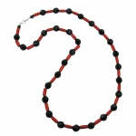 Necklace, black/ red, metallic, 80cm