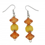 Hook earrings grinded beads topas yellow