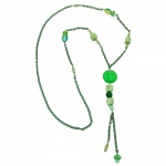 NECKLACE, EYE-CATCHING BEADS, GREEN, 90CM