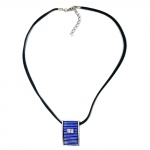 NECKLACE, BLUE AND SILVER, PENDANT, 45CM