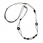 NECKLACE, BLACK & WHITE, BEADS, 105CM