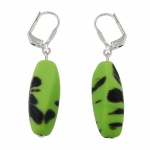 Leverback earrings glass beads kiwi green