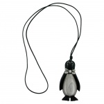 NECKLACE, PENGUIN BLACK, ANTIQUE-SILVER, 90CM