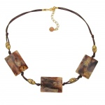 Necklace, 3x Squares, brown/beige