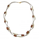 necklace tubes-beads, brown