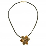 NECKLACE, FLOWER, OLIVE-GOLD ENAMELED, 50CM