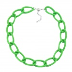 Collier, wide curb chain, green-matt