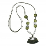 NECKLACE, TUBE FLAT CURVED, GREEN, 95CM