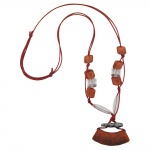 NECKLACE, TUBE FLAT CURVED, BROWN, 95CM
