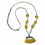 NECKLACE, TUBE FLAT CURVED, YELLOW-GREEN, 95CM