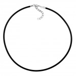 Necklace, 3mm, Rubber band, Silver Clasp, 42cm