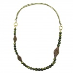Necklace, 3 Leaf Beads, Olive Colour, Pressed Bead