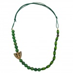 Necklace, Dark Green/ Green Marbled