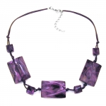 Necklace, 3 Large Pillow Beads, Waved, Purple Marbled