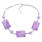 NECKLACE, WAVY TETRAGON, WHITE-LAVENDER