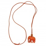 Necklace, Elephant, Orange Marbled