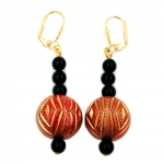 Leverback earrings oriental style black red gold coloured