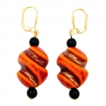 Leverback earrings twisted bead red orange black