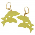 Leverback earrings two dolphins yellow