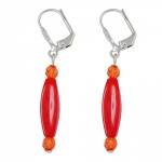 Leverback earrings olive beads red glossy