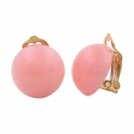 Clip-on earring round 18mm pink glossy