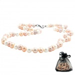 Necklace fresh water pearls three coloured