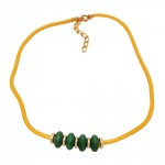 Necklace green wooden beads yellow cord