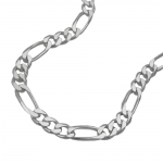 NECKLACE, FIGARO CHAIN FLAT, SILVER 925, 60CM