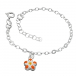 Bracelet, Anchor Chain, Flower, Silver 925