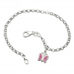 Bracelet, anchor chain, charm butterfly pink, silver 925, 16cm