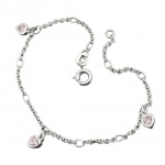 bracelet, anchor chain, heart zirconia pink, silver 925
