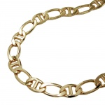 Bracelet, mariner chain, diamond cut, gold plated, 19cm