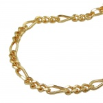 Bracelet figaro chain diamond cut gold plated 19cm DE NO