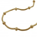 Bracelet, snake and ball chain, gold plated, 19cm