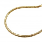 Necklace, round snake chain, gold plated, 70cm