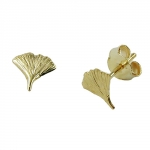 Stud earrings, ginkgo leaf, 9K GOLD