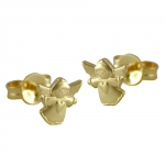 Stud earrings, flying angel, 9K GOLD