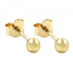 Stud earrings, balls 3mm, 9K GOLD