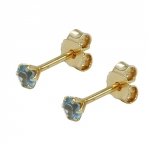 Stud earrings, synthetic aquamarine, 3mm, 9K GOLD