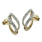 Stud earrings, with zirconias, 9k gold