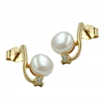 Earrings pearl with zirconia 9k gold