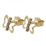 Earrings butterfly zirconia 9k gold