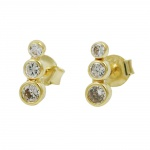 earrings with 3 zirconias, 9K GOLD