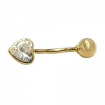 Navel/ Belly Bar, Zirconia Heart and Ball, 14K Gold - 430385