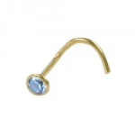 NOSE STUD, AQUAMARIN, 18K GOLD