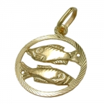 PENDANT, ZODIAC SIGN, PISCES, 9K GOLD