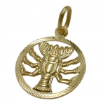 PENDANT, ZODIAC SIGN, CANCER, 9K GOLD