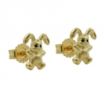 Stud earrings, little rabbit, 9K GOLD