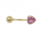 NAVEL-BELLY BAR, HEART AND BALL, 14K GOLD