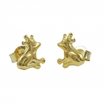 Stud earrings, frog with crown, 9K GOLD